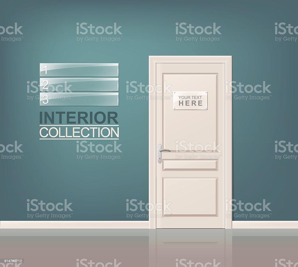 White Wooden Door vector art illustration