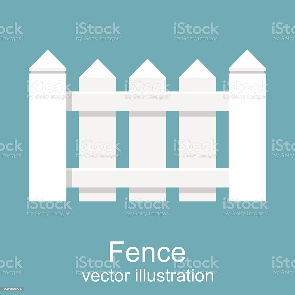 White wooden fence. picket white isolated vector art illustration