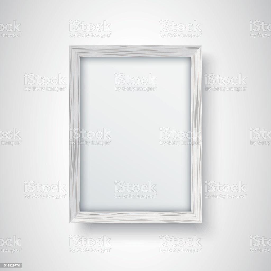 White wooden frame vector art illustration