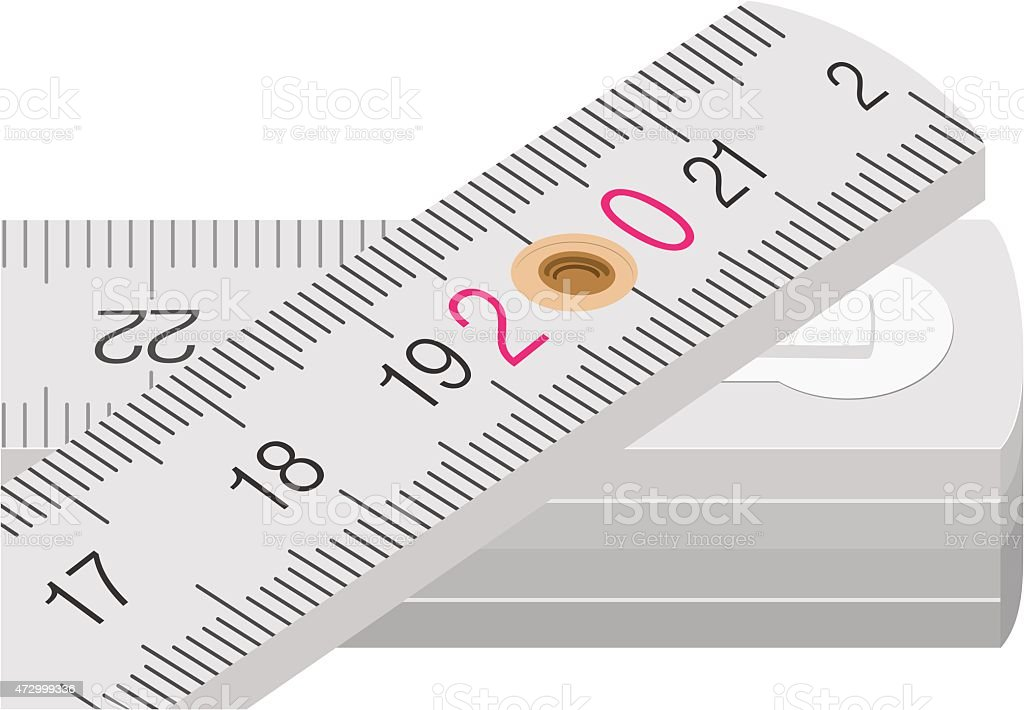 White wooden measuring stick with golden hole vector art illustration