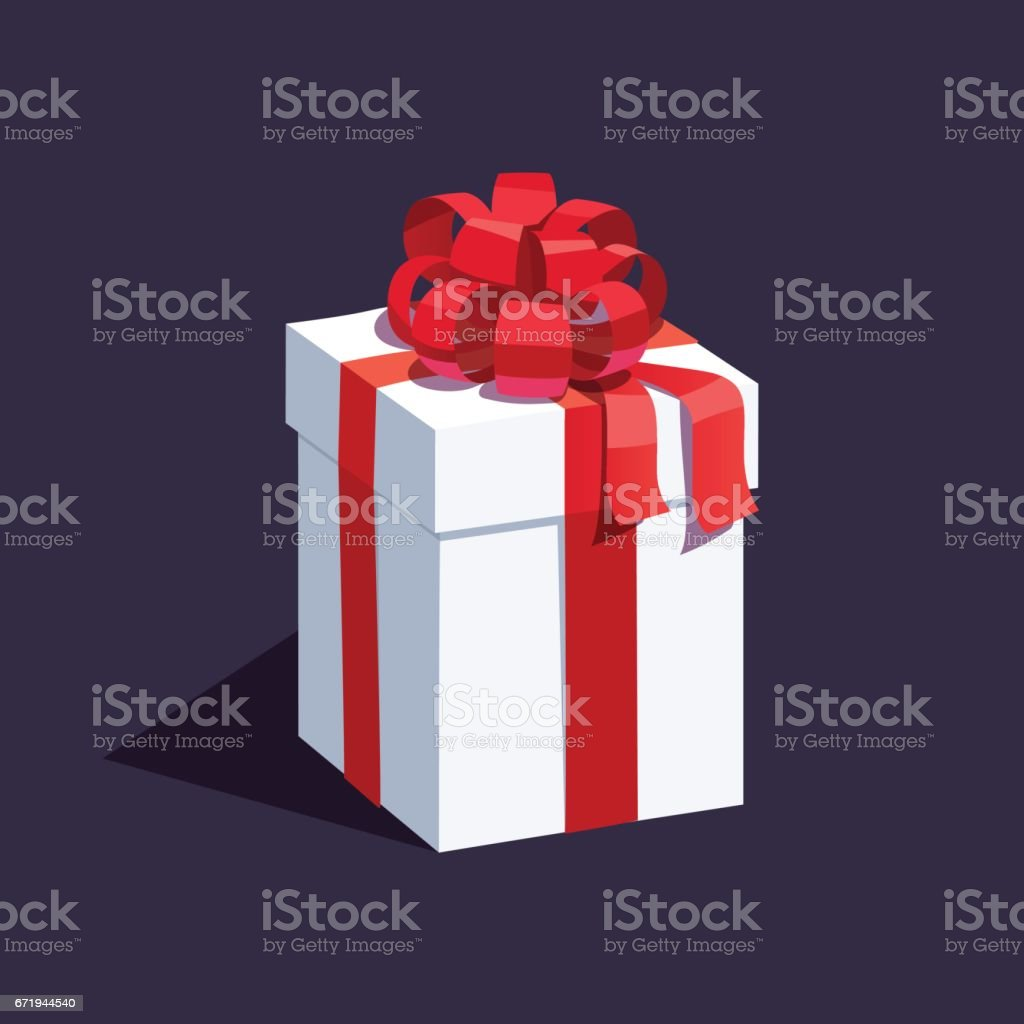 White wrapped gift box decorated with ribbon bow vector art illustration