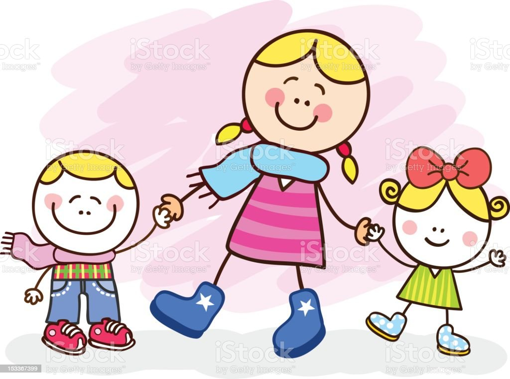 white young mother and kids cartoon illustration royalty-free stock vector art