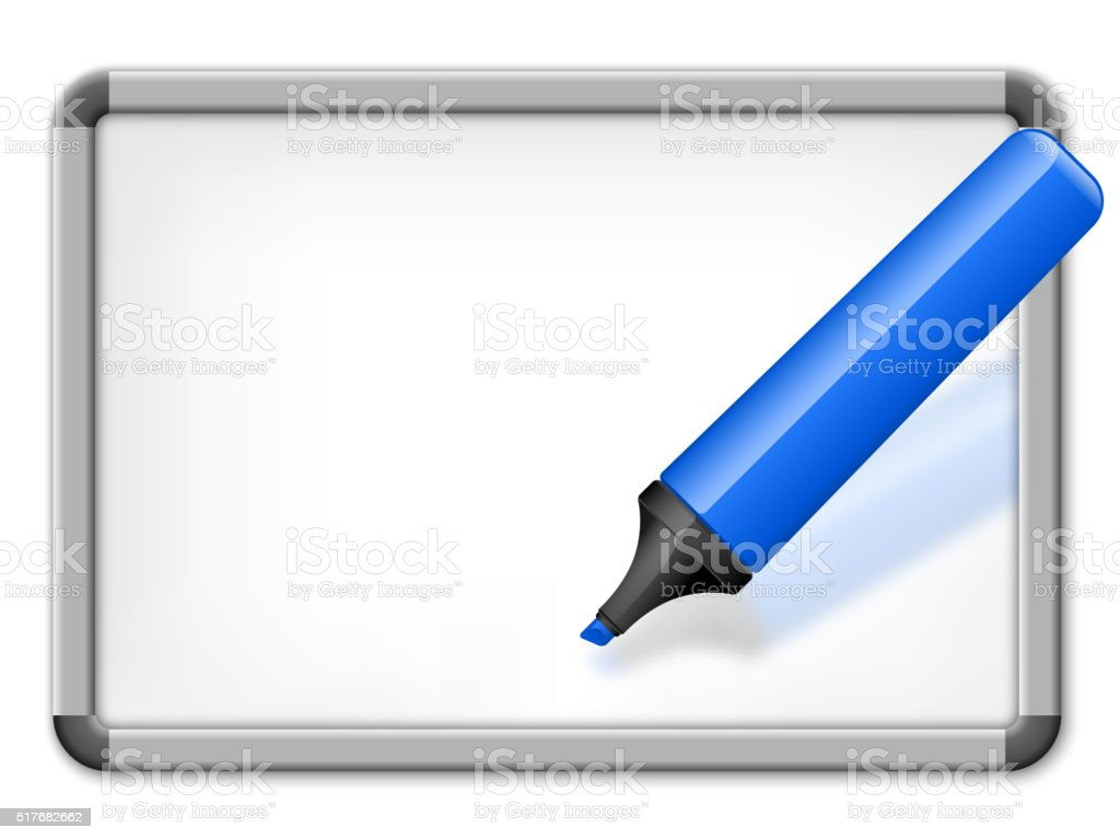Whiteboard with highlighter vector art illustration