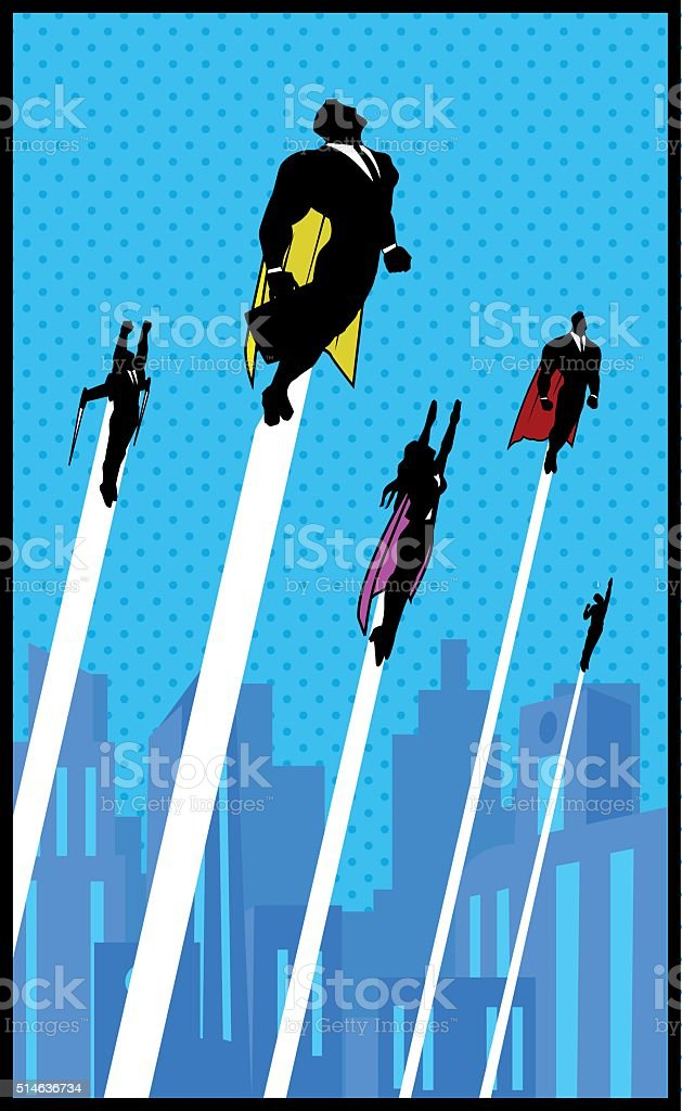 White-collar workers superheroes vector art illustration