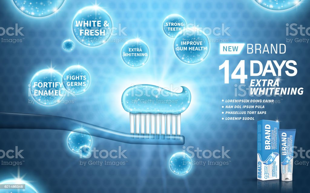 whitening toothpaste ad vector art illustration