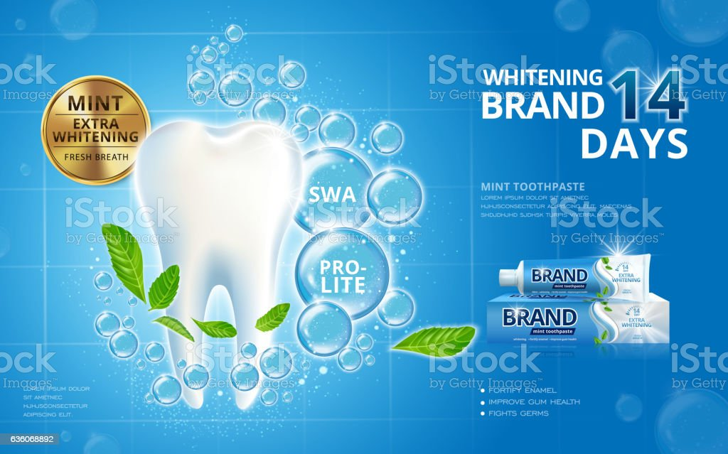 Whitening toothpaste ads vector art illustration