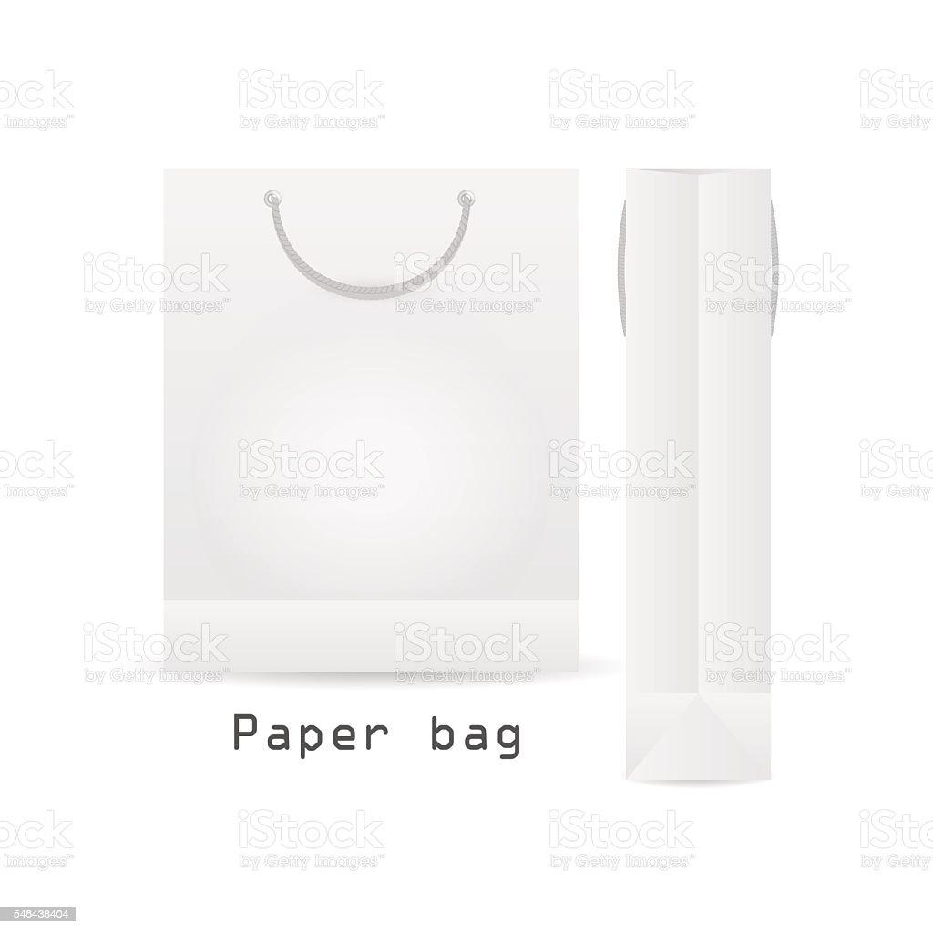WhitePaper bag with rope vector art illustration