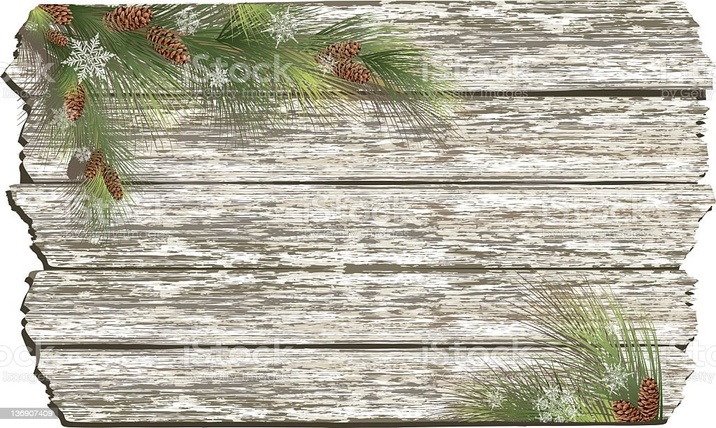 Whitewashed wood with Evergreens royalty-free stock vector art