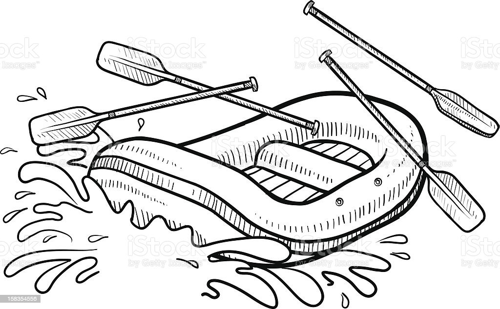 Whitewater rafting action sketch vector art illustration