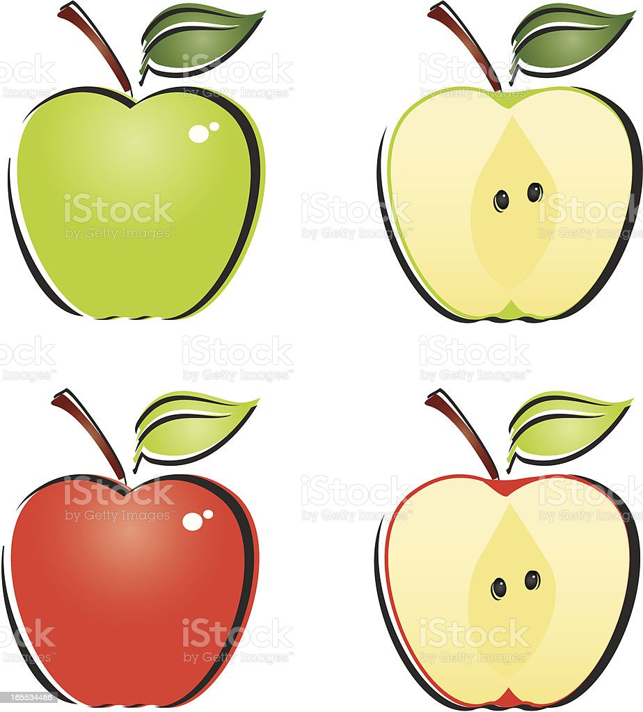 Whole and Cut Apples royalty-free stock vector art