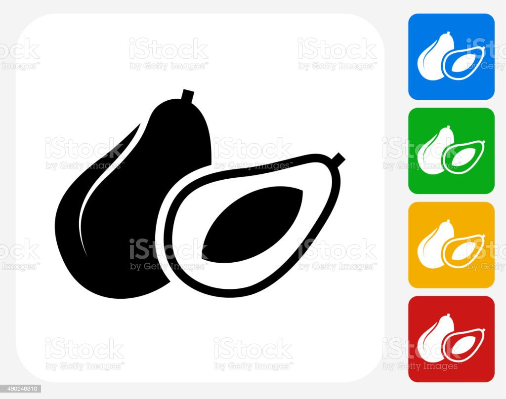 Whole and Half Avocado Icon Flat Graphic Design vector art illustration