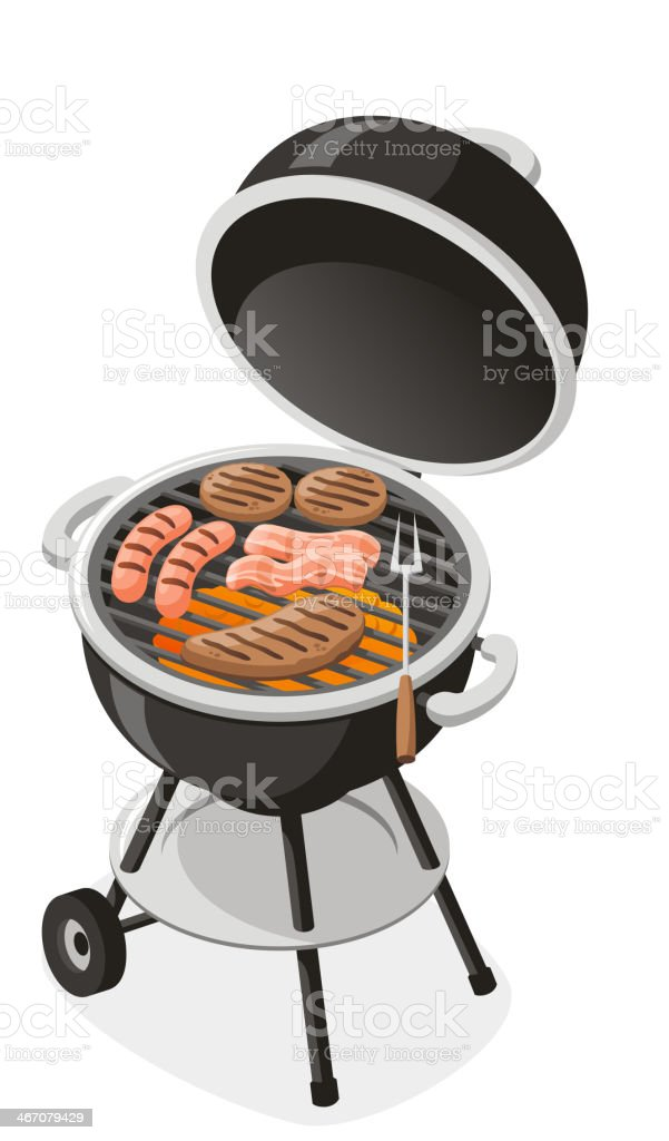 Whole Charcoal Barbecue Grill vector art illustration