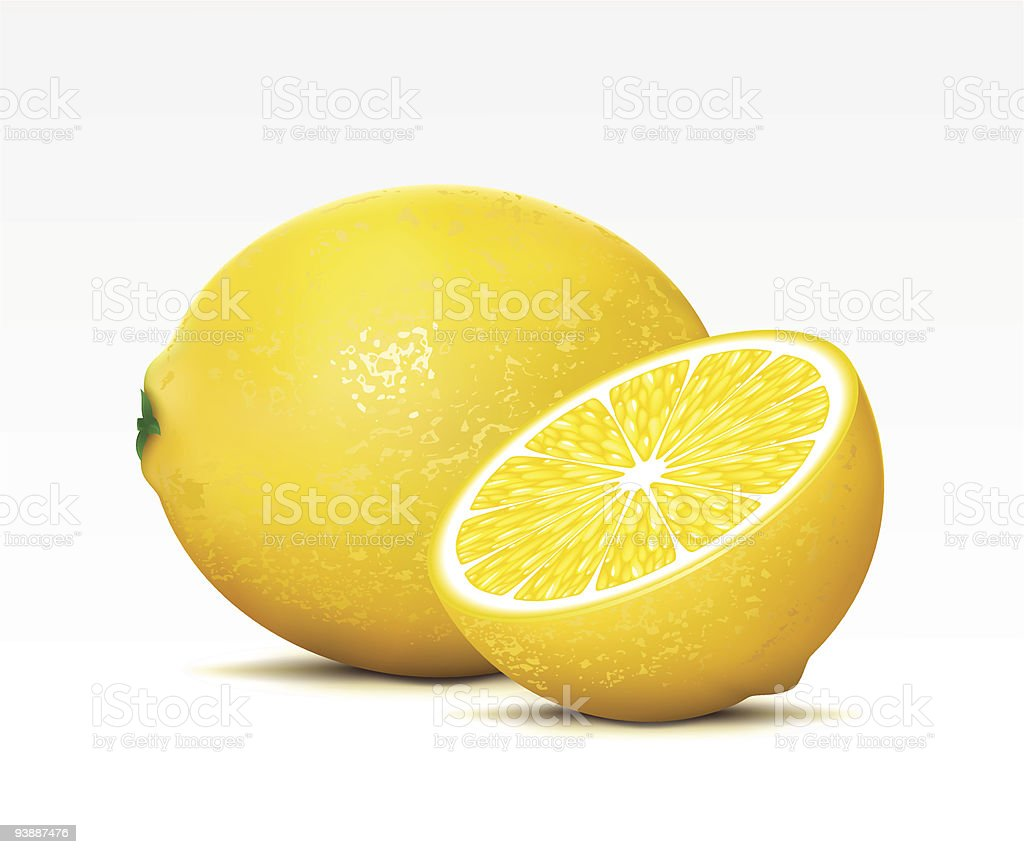 A whole lemon with a sliced lemon next to it royalty-free stock vector art