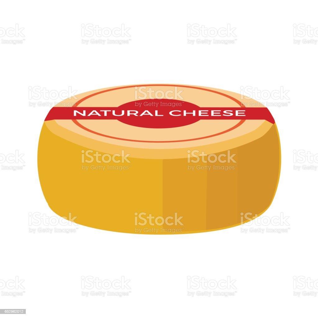 Whole wheel cheese vector art illustration