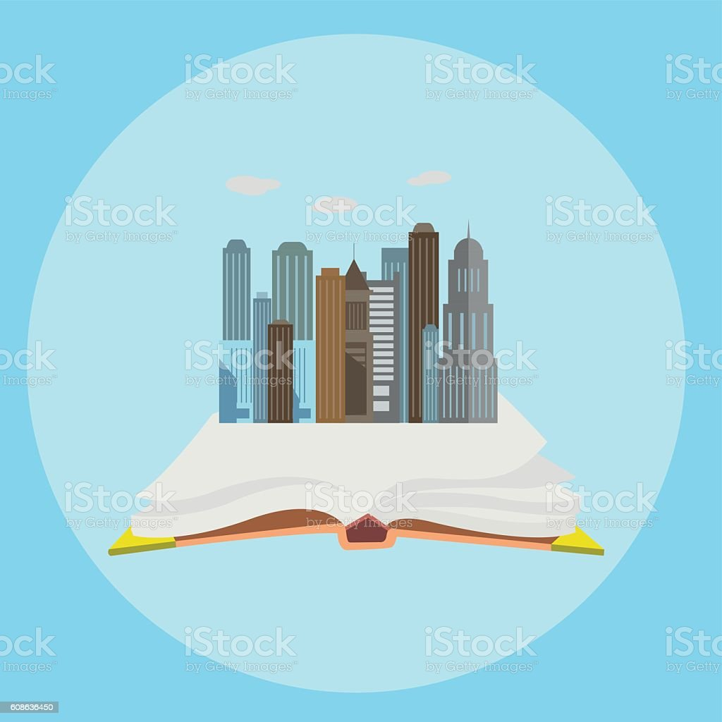 Whole world in the book flat style modern concept vector vector art illustration