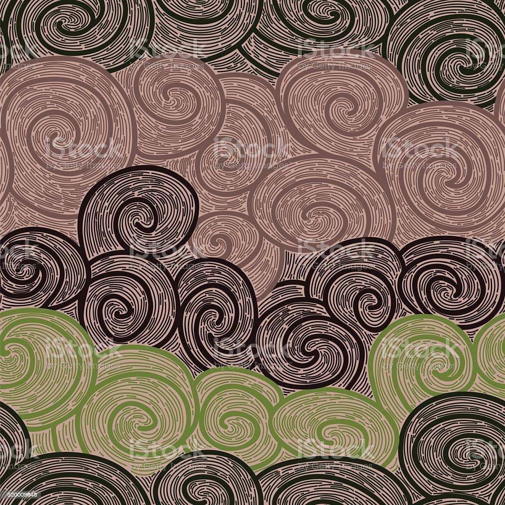 whorl seamless hand drawn pattern vector art illustration