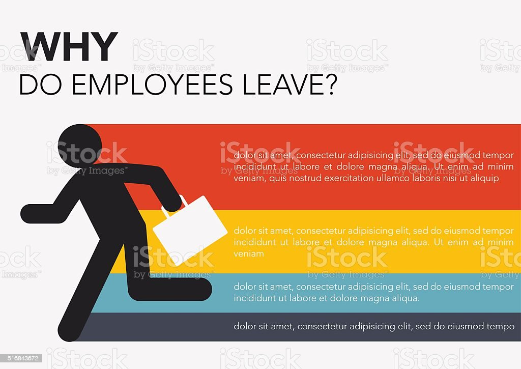 HR: Why do employees leave vector art illustration