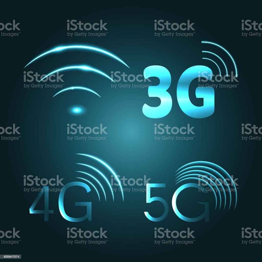 Wi Fi, 3G, 4G and 5G technology glow icon symbols vector art illustration