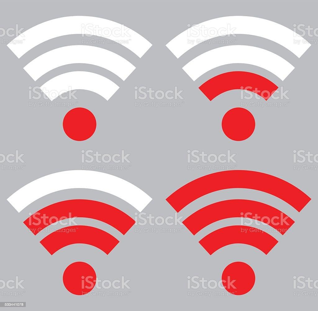 Wi fi signal strength vector art illustration