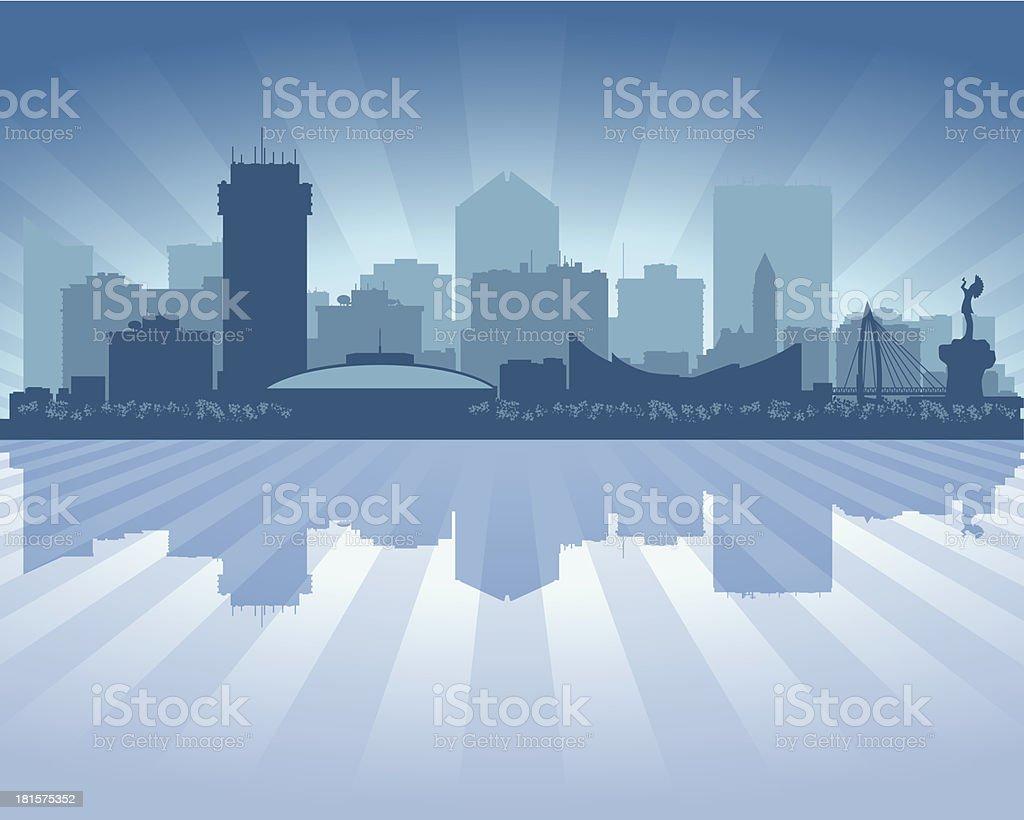 Wichita Kansas Blue City skyline silhouette royalty-free stock vector art
