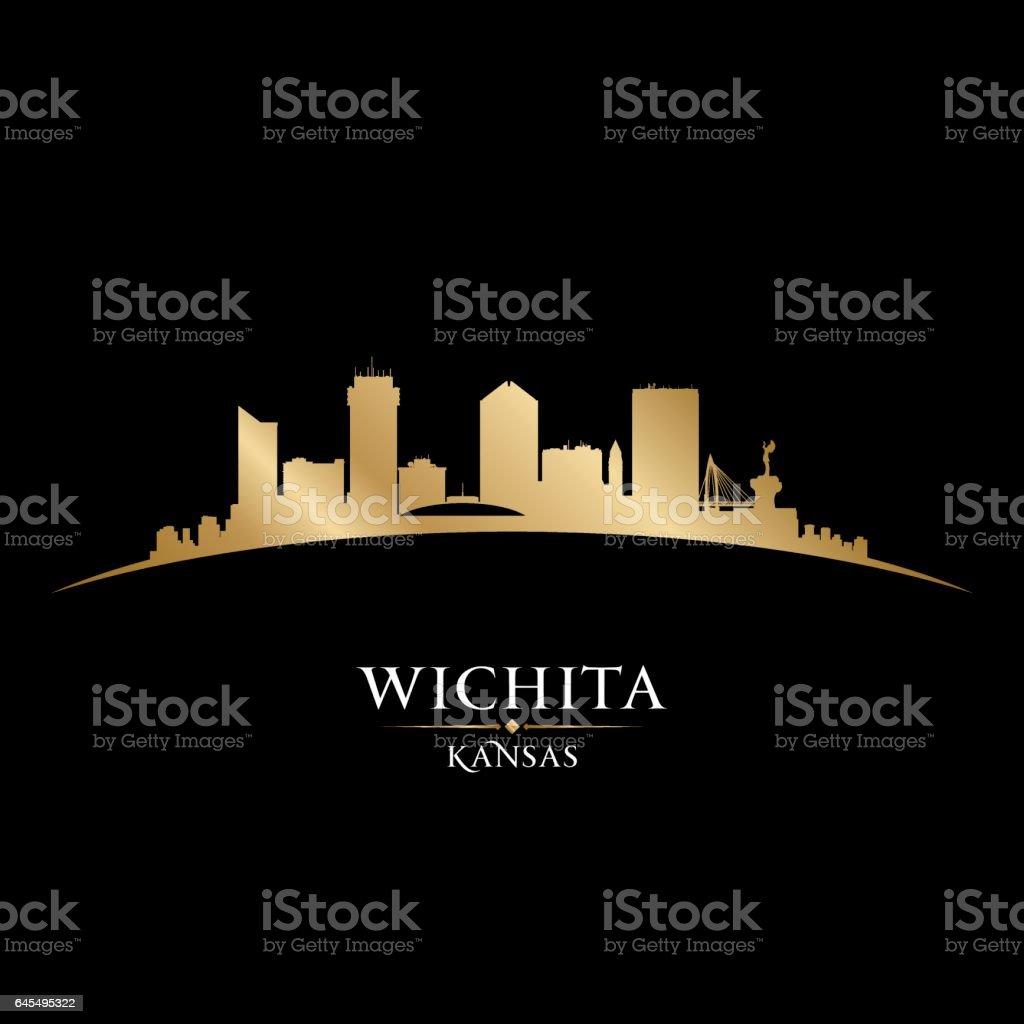 Wichita Kansas city skyline silhouette vector art illustration
