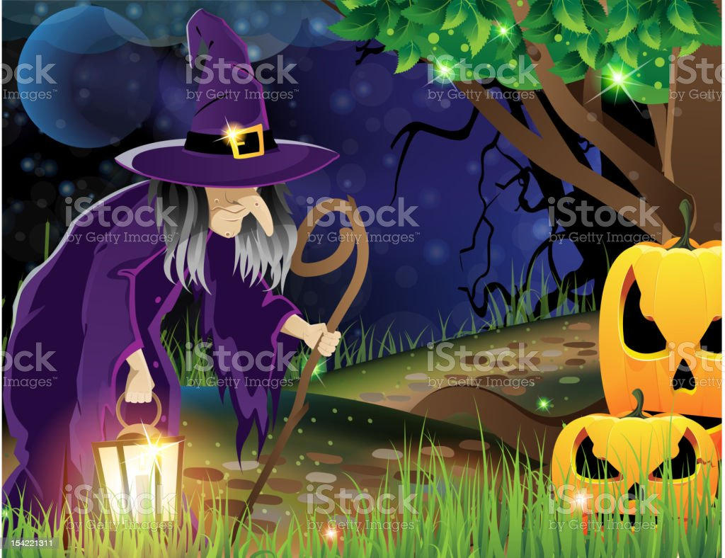 Wicked witch and Jack O lanterns royalty-free stock vector art