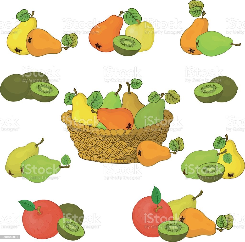 Wicker basket and fruits set royalty-free stock vector art