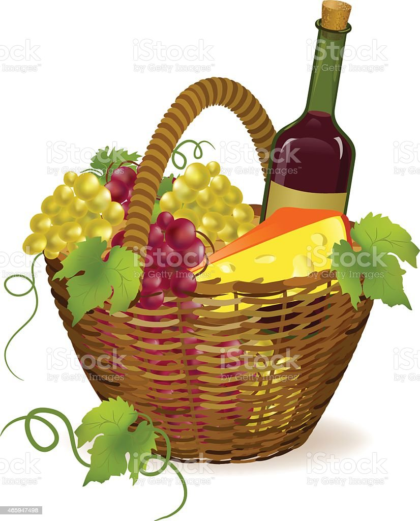wicker basket with wine products vector art illustration