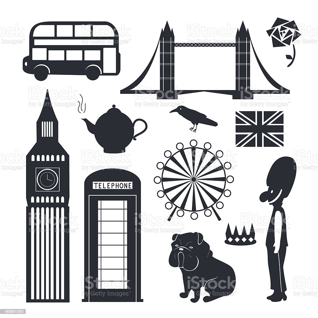 A wide array of symbols representing London  royalty-free stock vector art