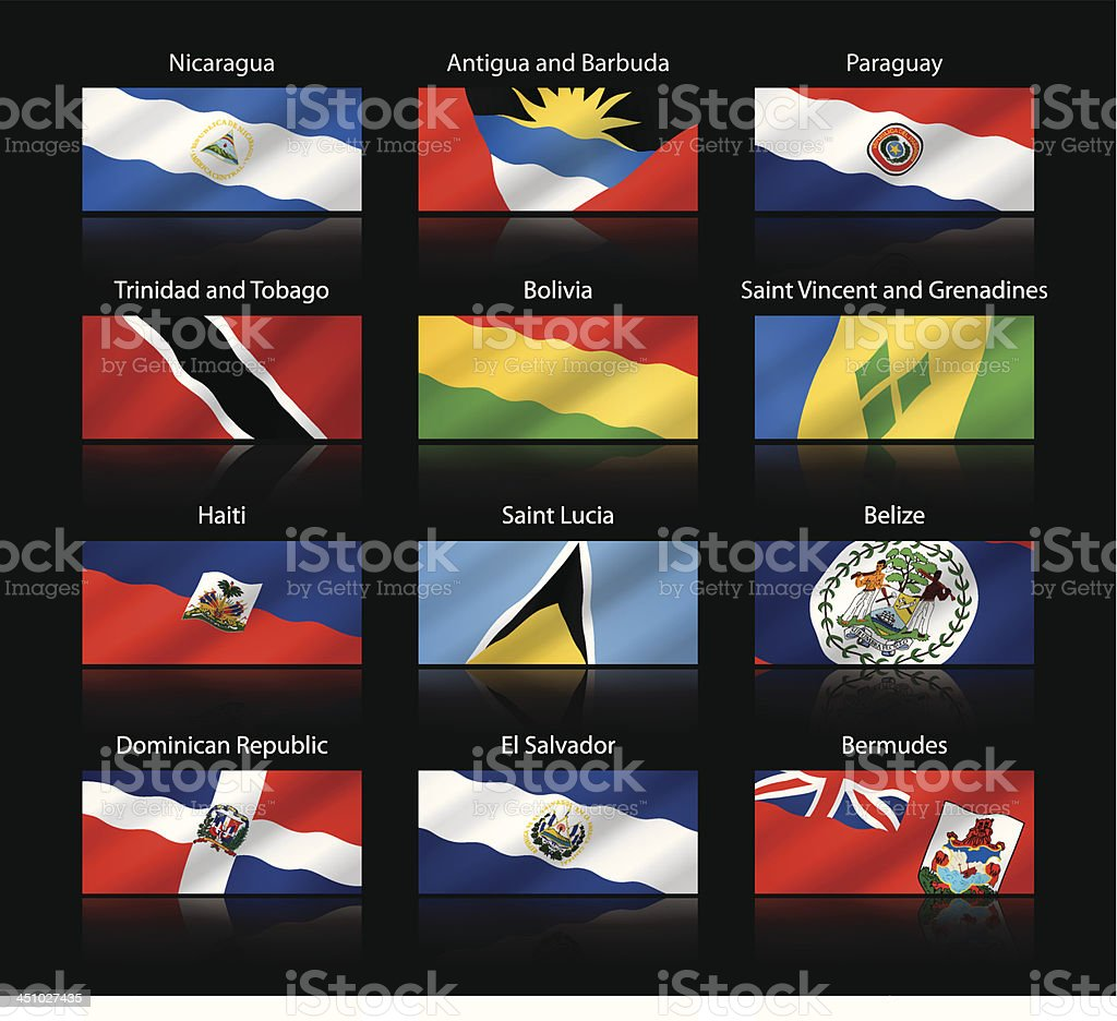 Wide cropped flags - Central and South America royalty-free stock vector art