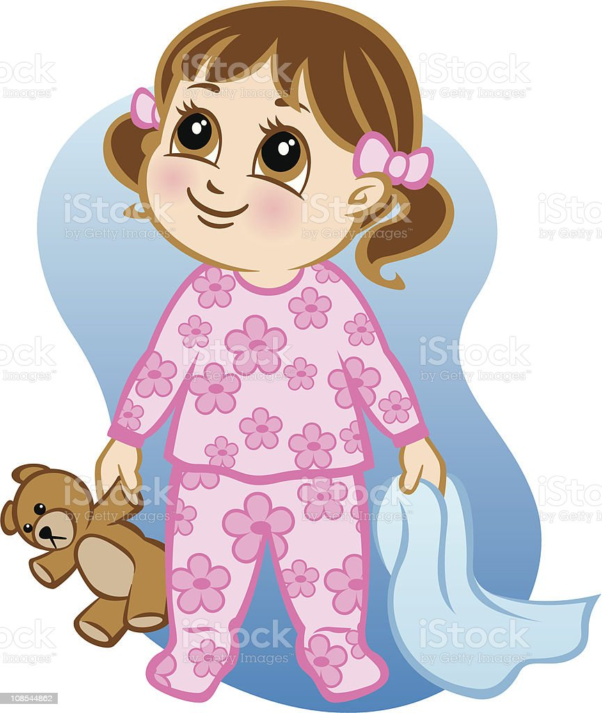 A wide eyed young cartoon girl that's ready for bed royalty-free stock vector art