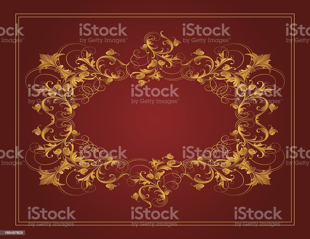 Wide Gold Frame royalty-free stock vector art