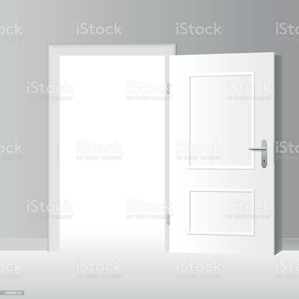Wide Open White Door vector art illustration