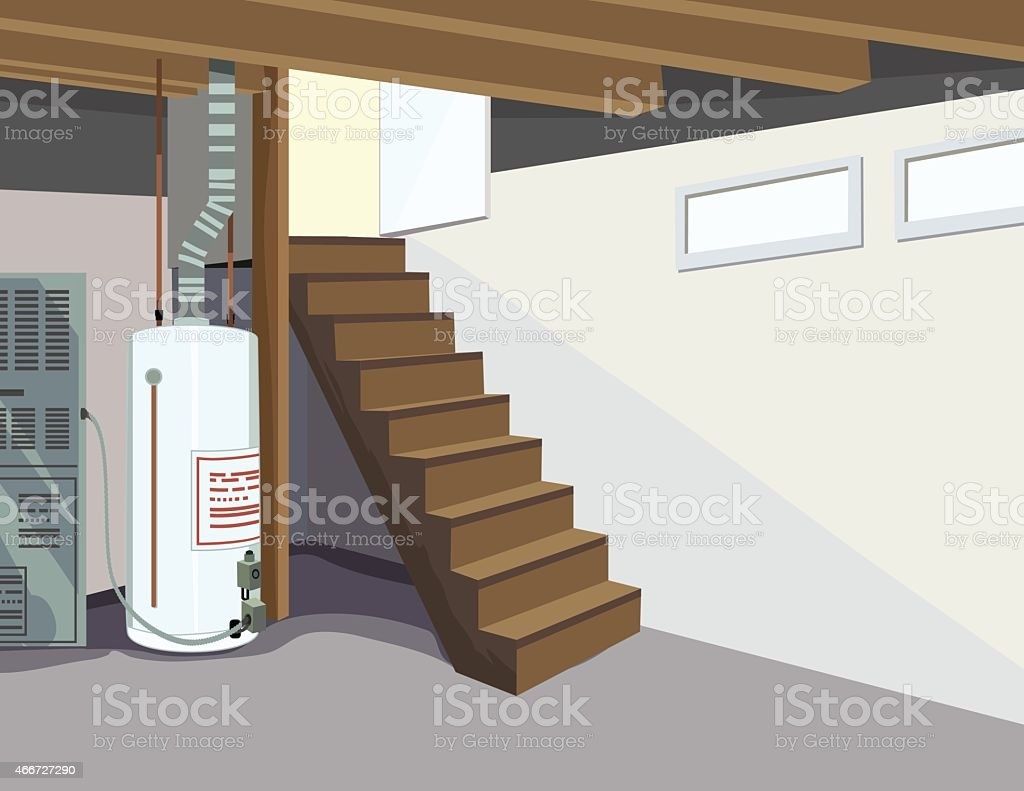 Wide Perspective of Basement with Hot Water Tank and Stairs vector art illustration
