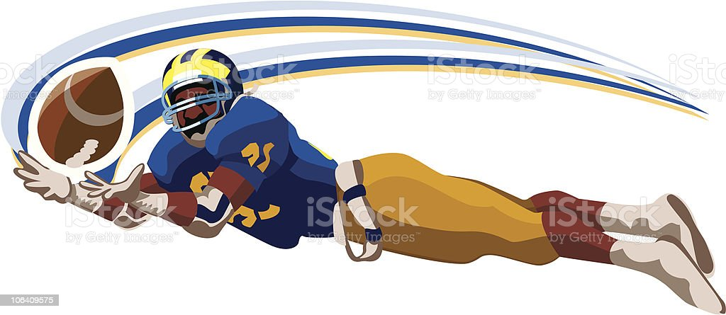 Wide Receiver Catching Pass royalty-free stock vector art