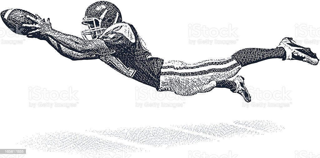 Wide Receiver Making A Fantastic Catch vector art illustration