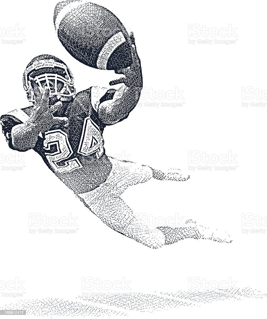 Wide Receiver Making Fantastic Catch royalty-free stock vector art