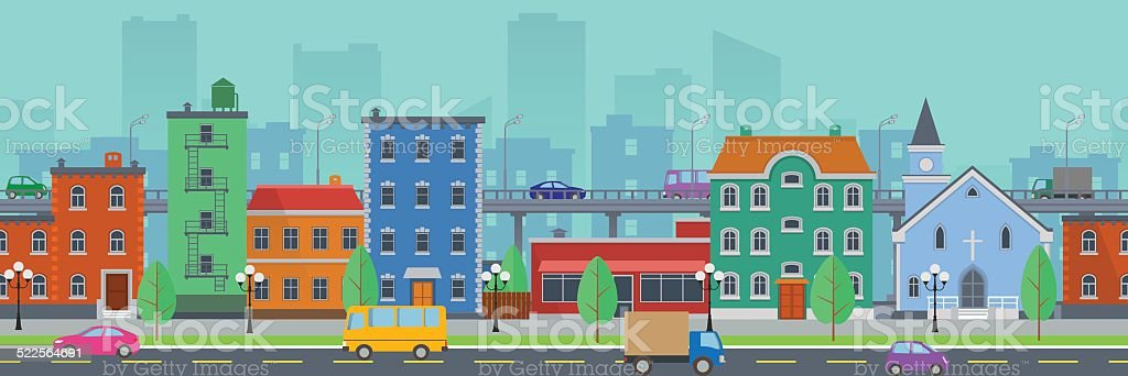 Wide screen cityscape in flat style vector art illustration