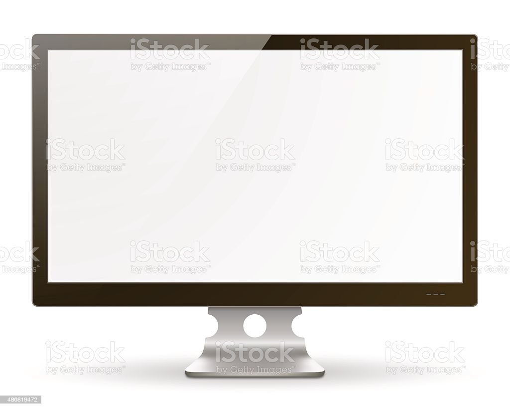 Wide Screen Computer Monitor vector art illustration