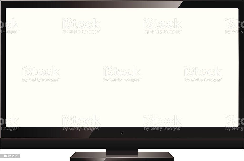 Widescreen HDTV television set vector art illustration