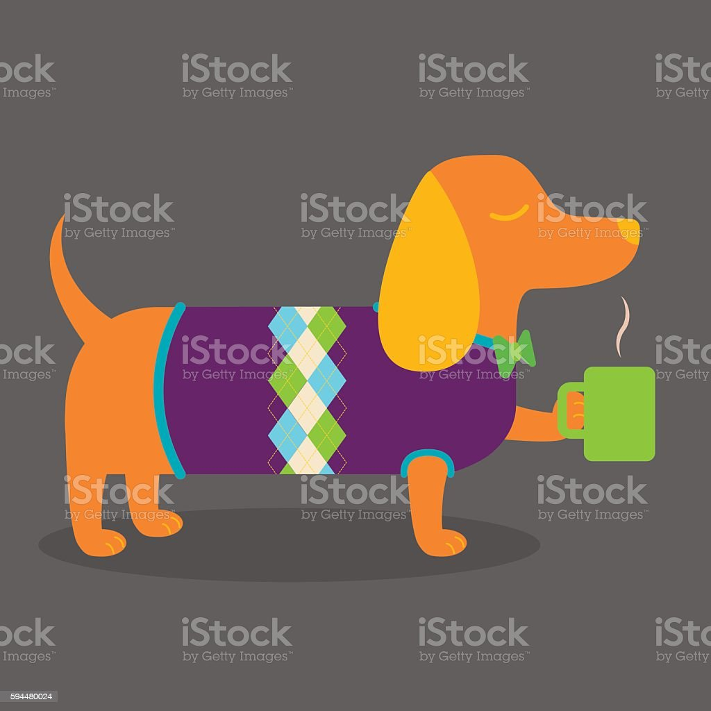 Wiener Dog with Coffee vector art illustration
