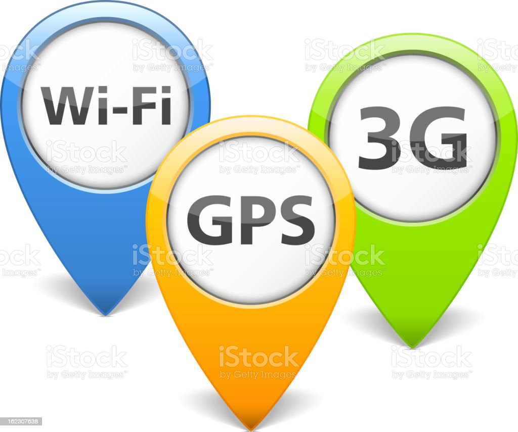 Wi-Fi, 3G and GPS Icons royalty-free stock vector art