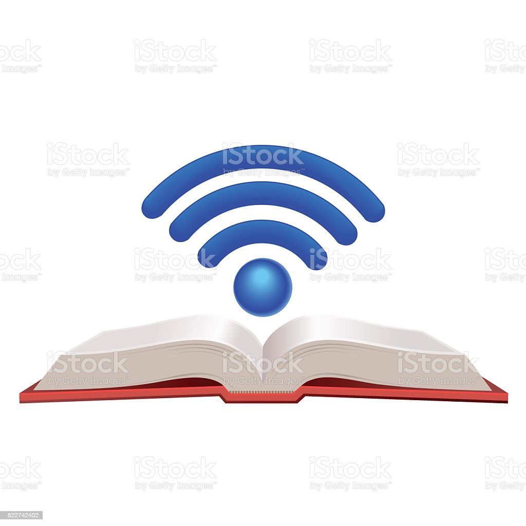 Wifi book vector art illustration