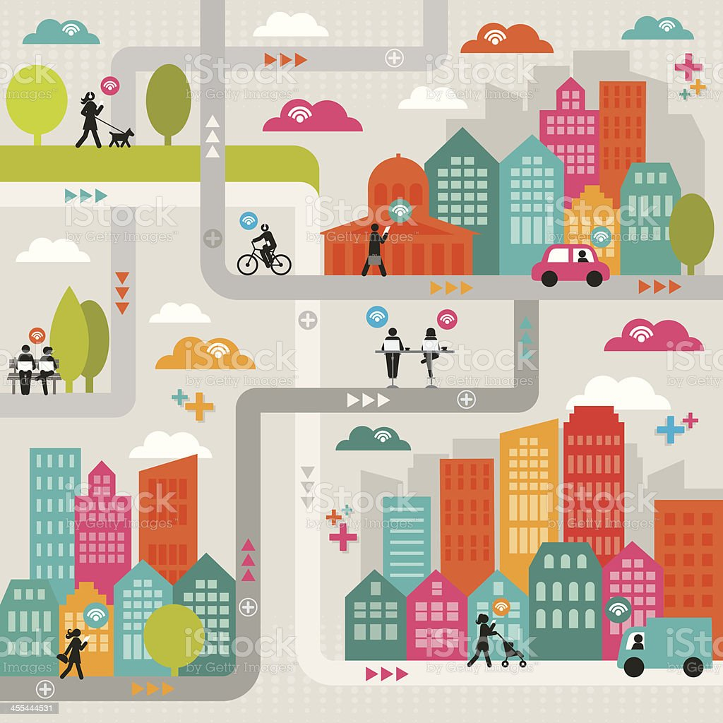 Wi-Fi Connected City vector art illustration