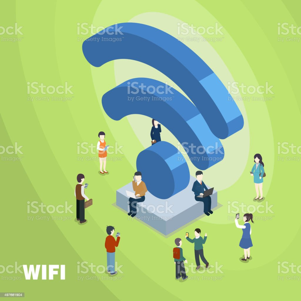 wifi connected concept vector art illustration