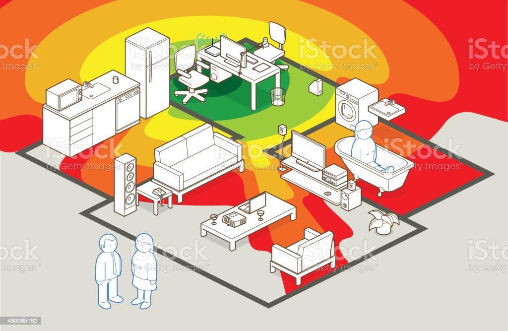 wifi coverage vector art illustration