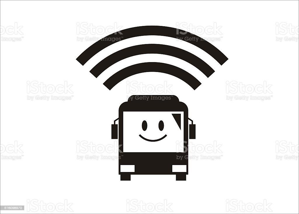 Wi-Fi facility/amenity on a bus vector art illustration