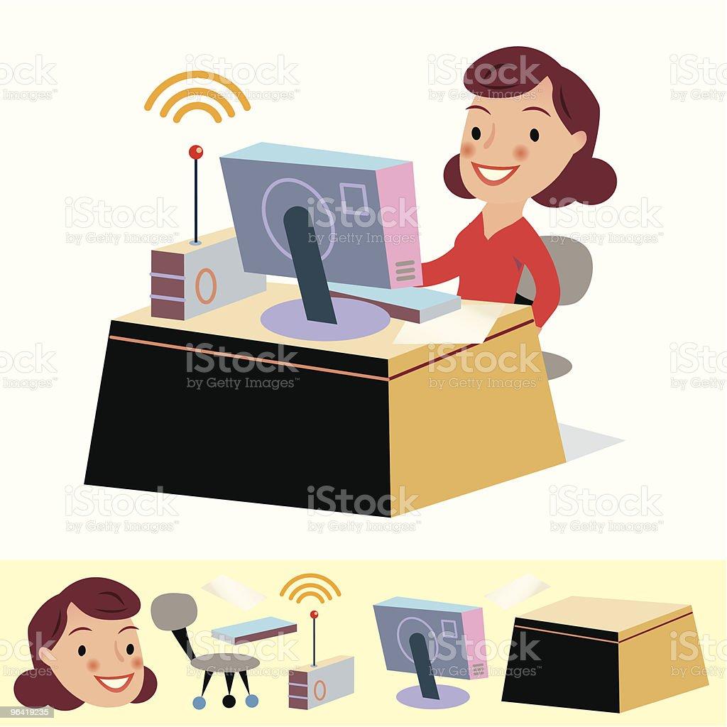 WiFi Girl vector art illustration
