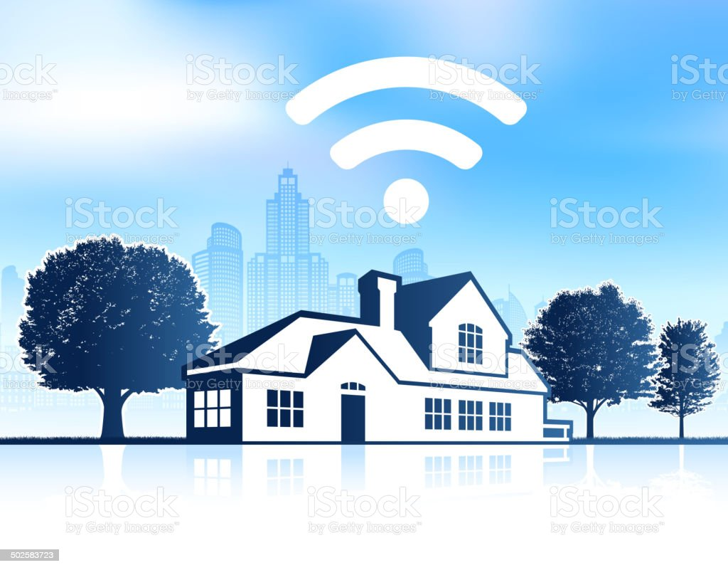 Wi-Fi House on panoramic city skyline Background vector art illustration