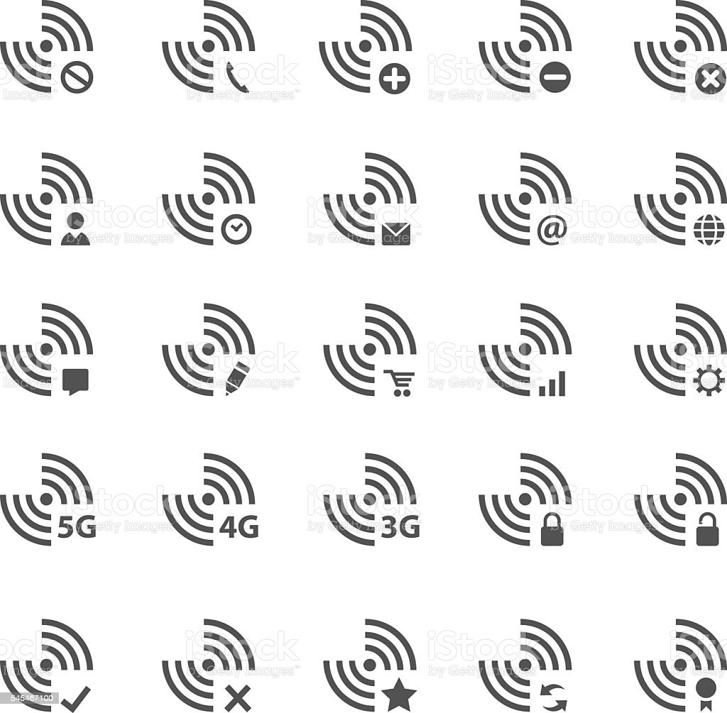 wifi icon set vector art illustration